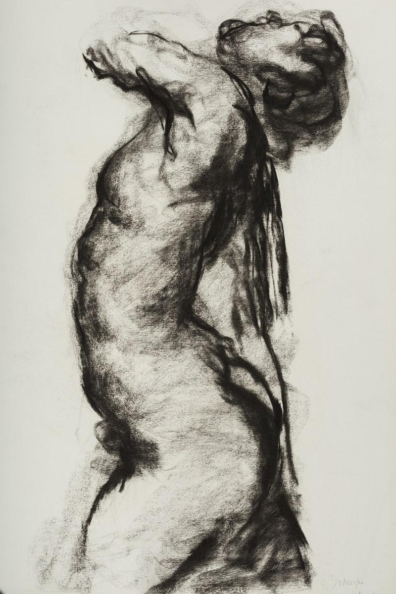 Belgische Kunst, design, fusain, female, Eugène Dodeigne